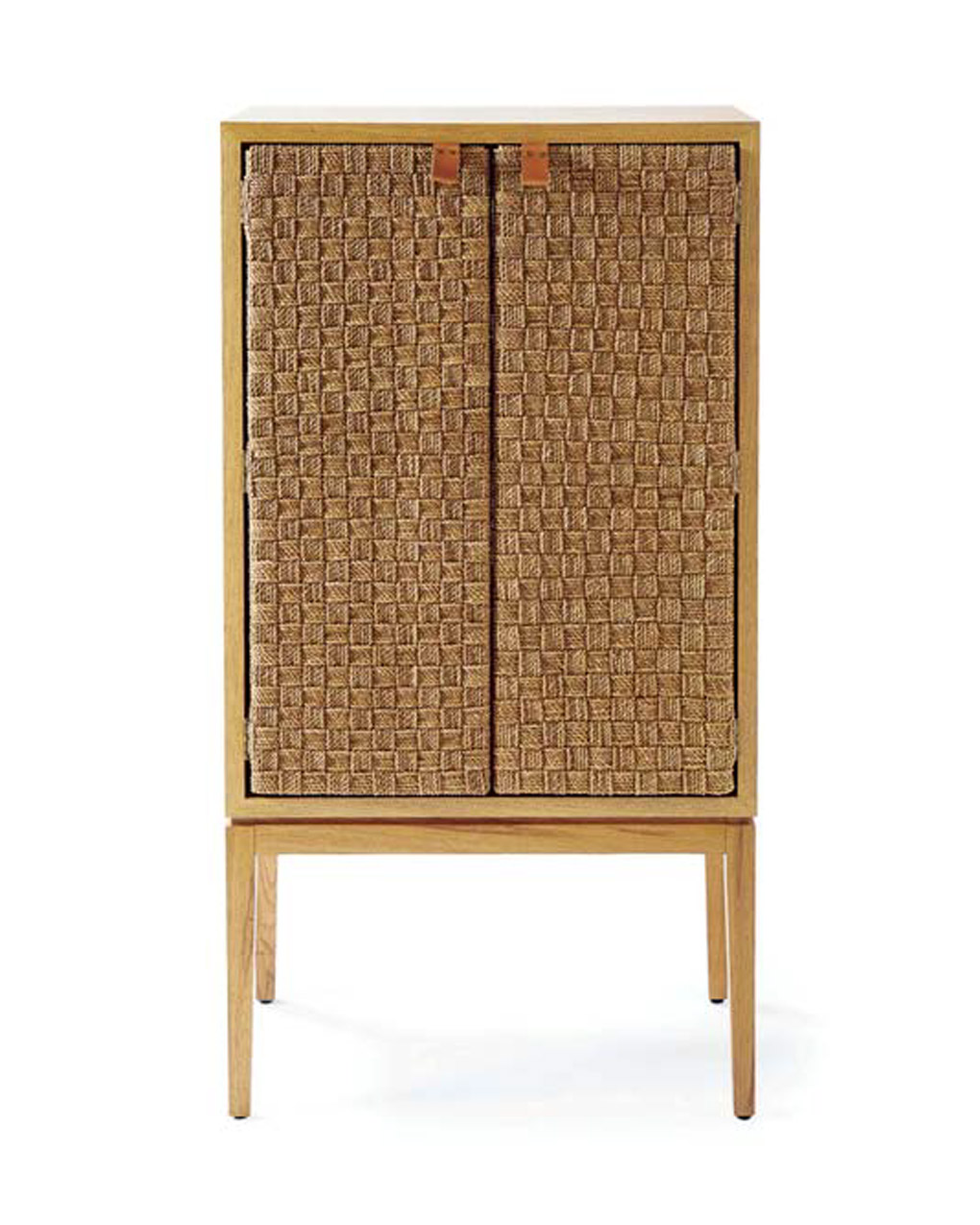 Beach cottage inspired bar cart with woven styled doors.