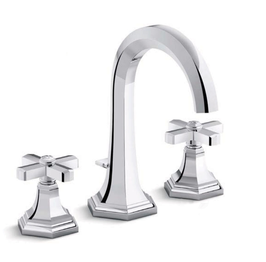 Chrome sink faucet with cross handles.