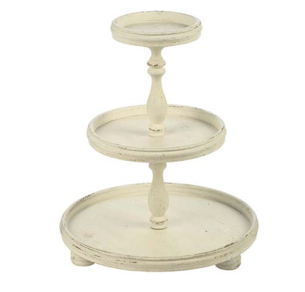 Cream colored three tiered stand.