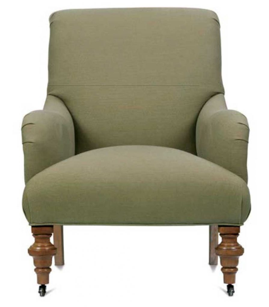 Rolled arm muted green chair with wooden turned legs.