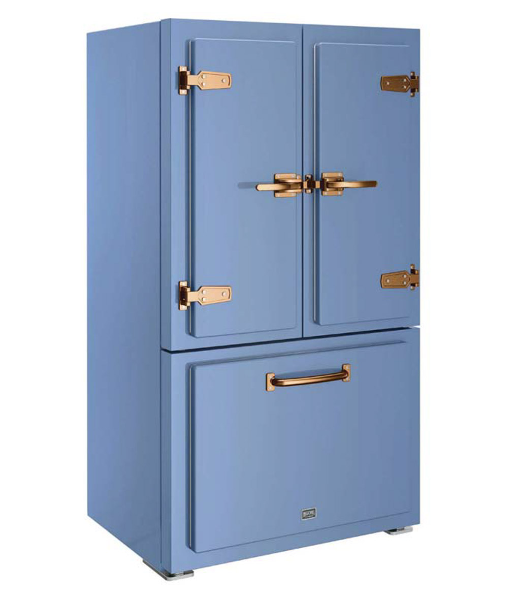 Classic fridge in French blue with copper detailing and hardware.