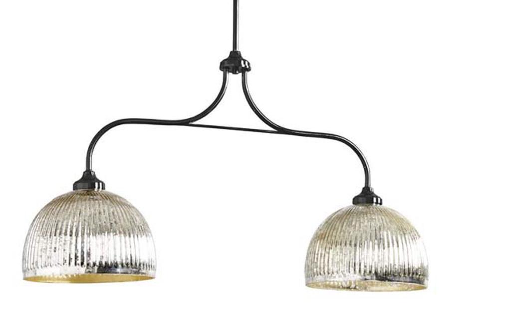 Mercury glass finish double pendant lights.