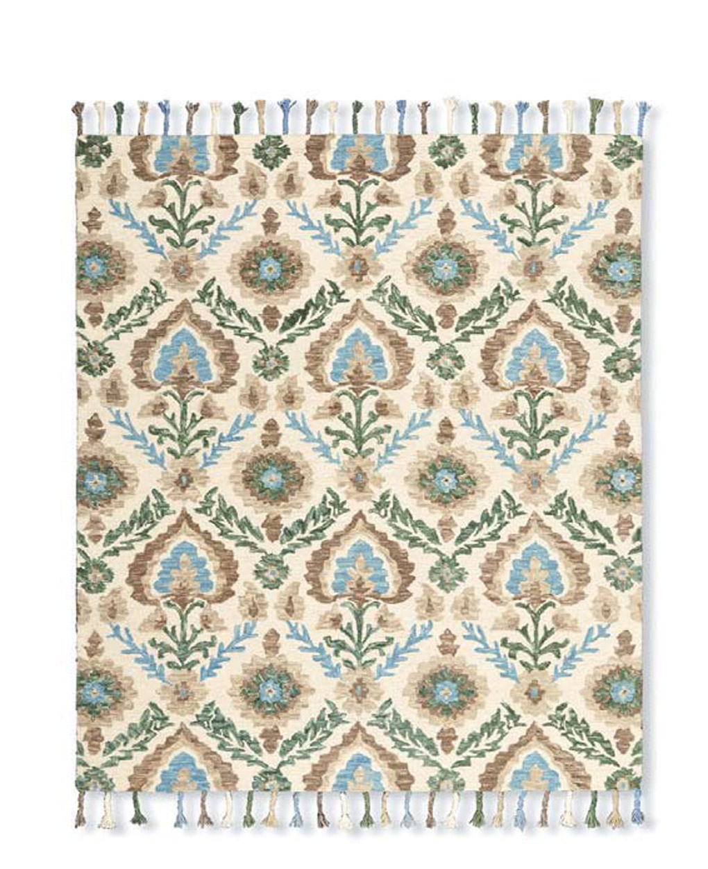 Floral patterned cream, green and blue rug with tassels.
