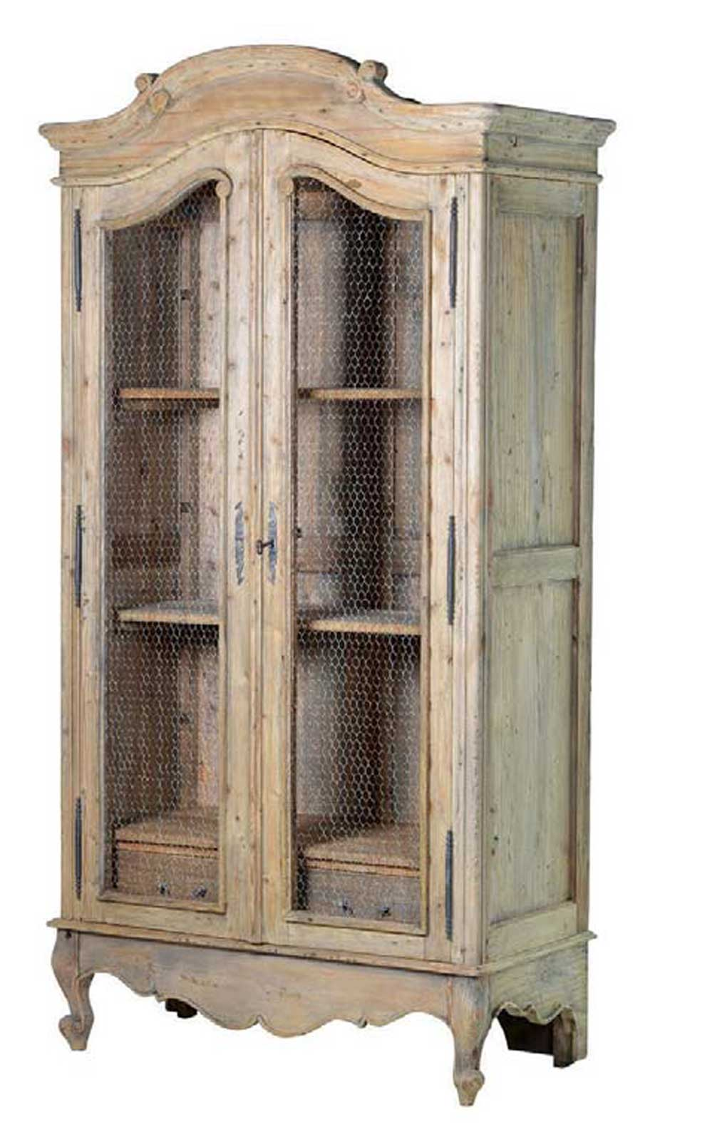 Rustic wooden French armoire with wire fronted doors.