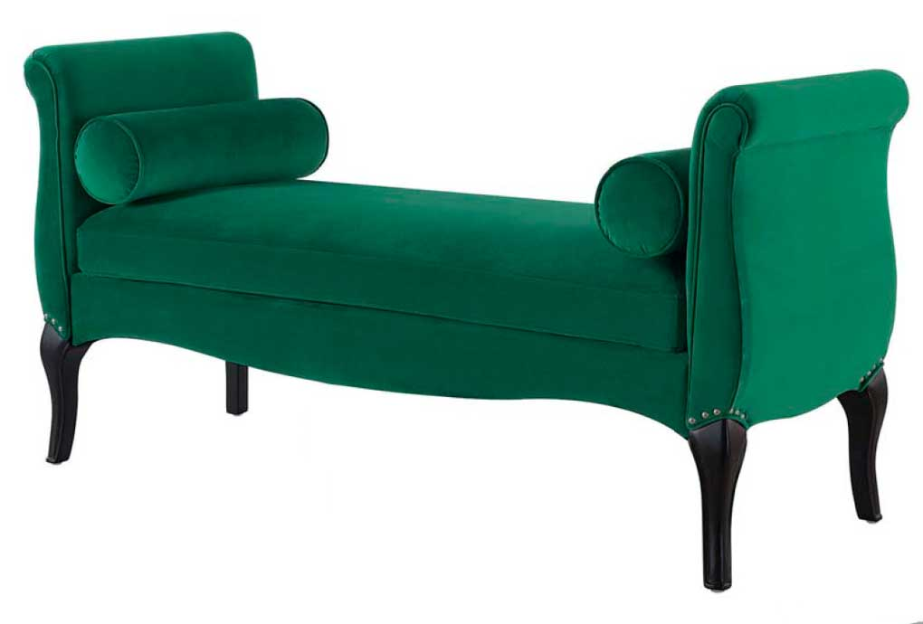 Rolled arm bench in a vibrant green.