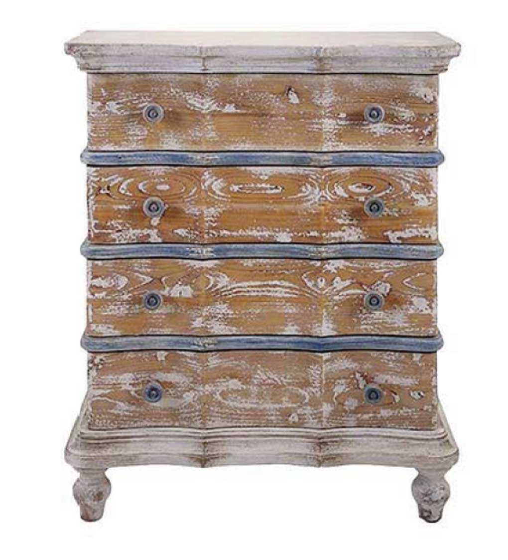 French country four drawer cabinet in weathered cream and blue.