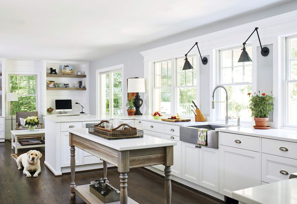 Remodeled white kitchen with freestanding island, looking over the counter into a living area with a large white dog resting on the floor.