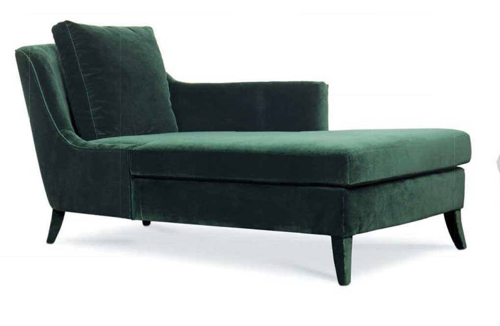 Green velvet chaise lounge.