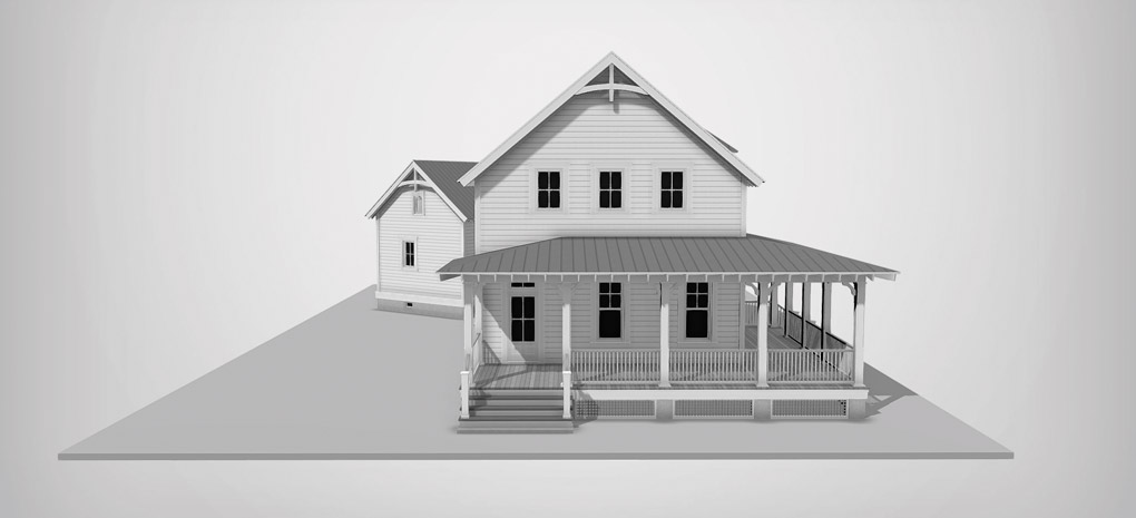 A black and white 3-D rendering of the Project House 2020 design by Scissortail Homes.