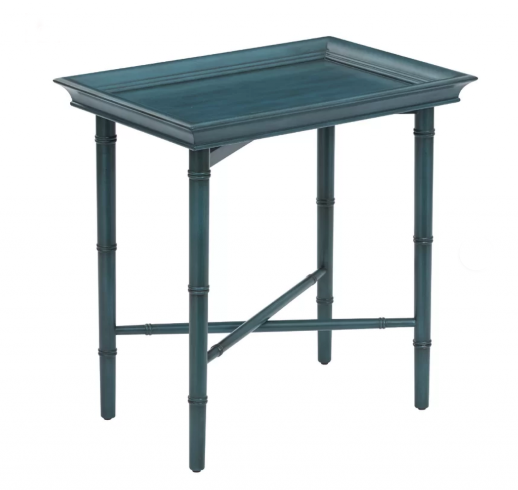 Aqua blue colored TV tray with shabby cottage style.