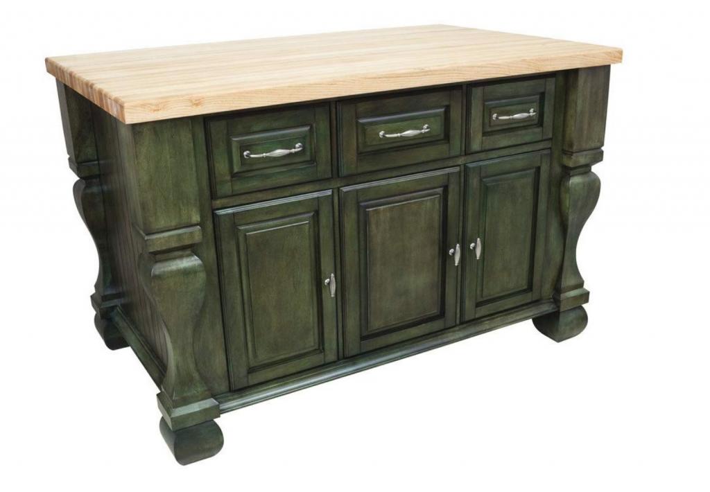 Custom designed green wooden island with butcher block top.