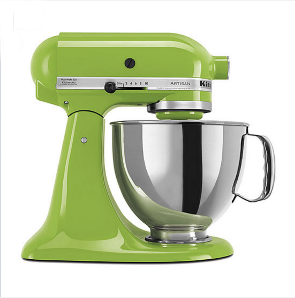 Green Kitchen Aid mixer with a silver mixing bowl.