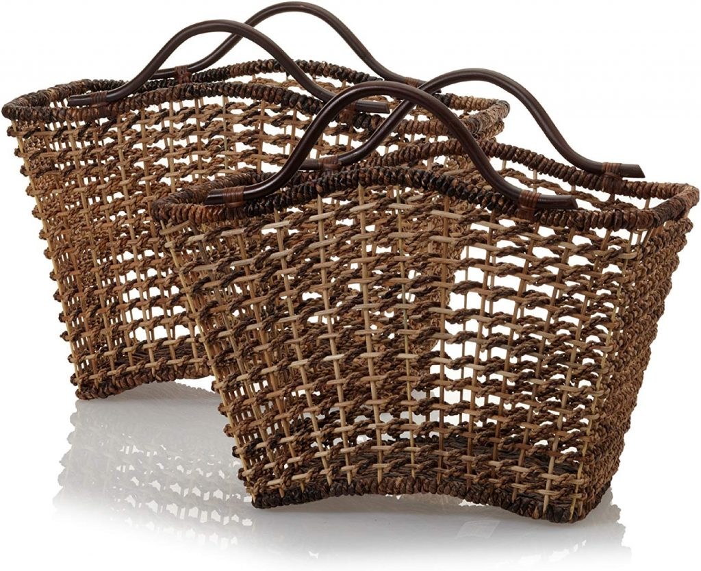 Set of 2 Bali Nesting Baskets with Rattan Handles