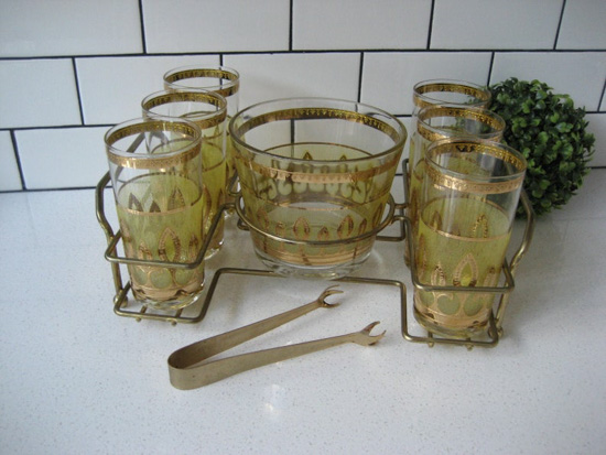 9pc Vintage Culver Bar Cart Set Midcentury Entertaining Embossed Gold and Chartreuse