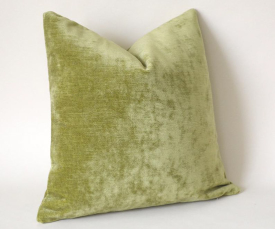 Light green velvet pillow.