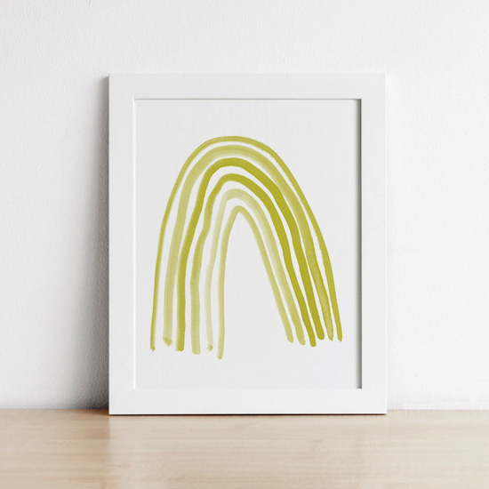 Chartruese rainbow art print in a white frame.