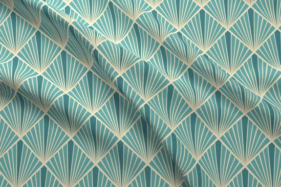Turquoise colored Art Deco patterned fabric.