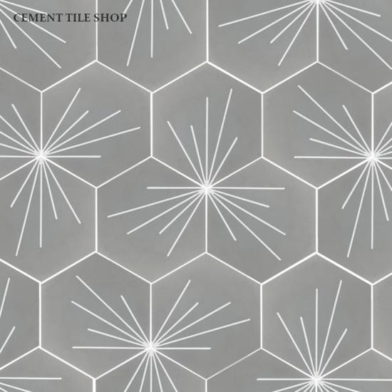Grey and white tri-hexagonal tile pattern.