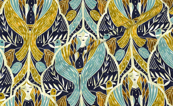 Goddess inspired Art Deco fabric in tones of blues and mustards.