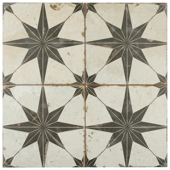 Four large off white tiles with a large gray starburst patterns.