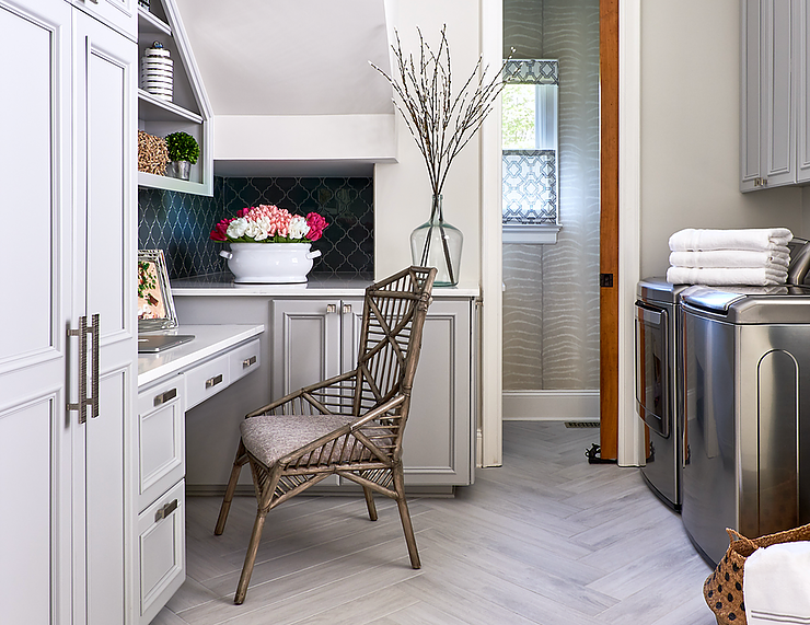 Small home office and laundry room, with white cabinetry and stainless steel appliances.