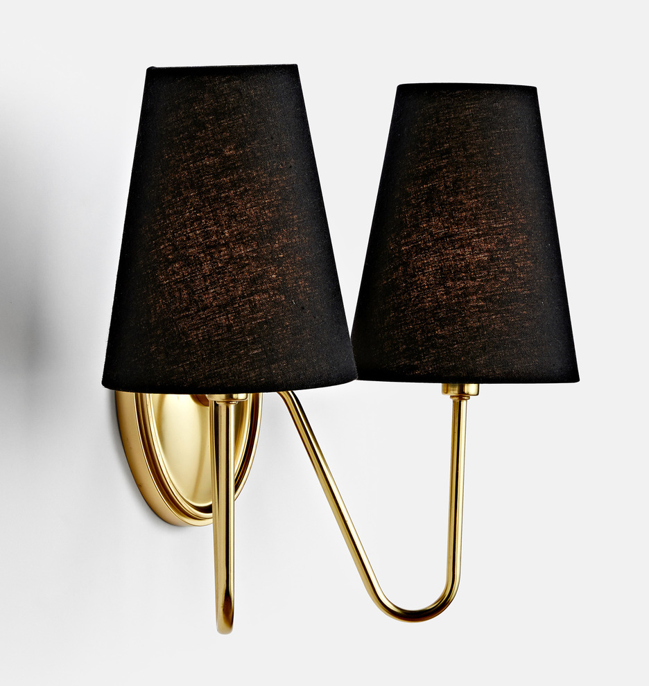 Brass double wall sconce with black linen shades.
