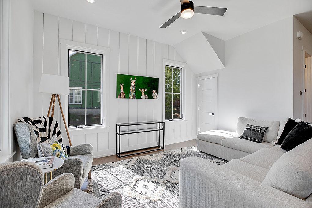 white monochromatic modern farmhouse room