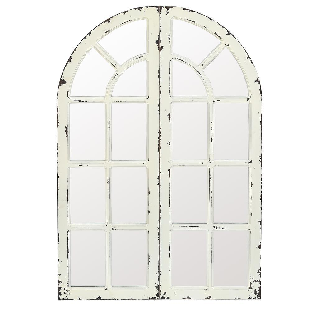 Shabby cottage style mirrored wall piece in the shape of a round-topped window.