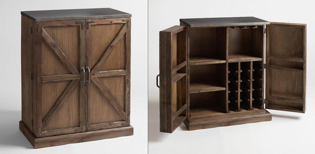 Wooden barn door style home wine cabinet with metal top.