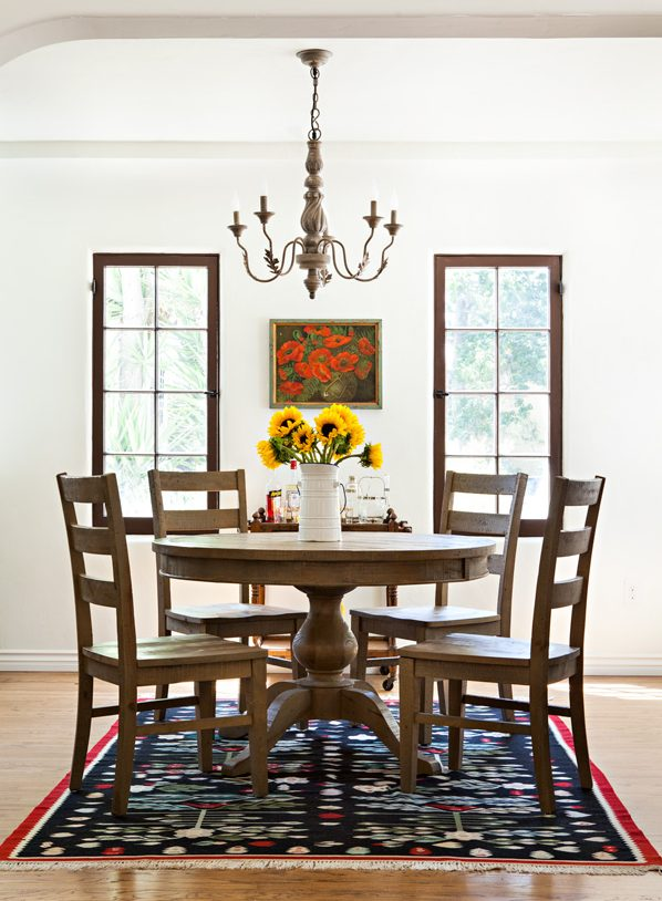 spanish colonial cottage dining room in a modern cottage