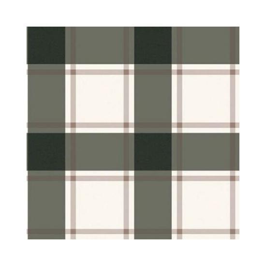 Swatch of plaid black and ivory self-adhesive, repositionable wallpaper.