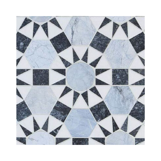 Hand painted cement tile in shades of blues and white.