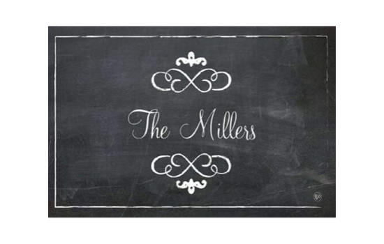 Black and white chalkboard design with a family name customized on it.