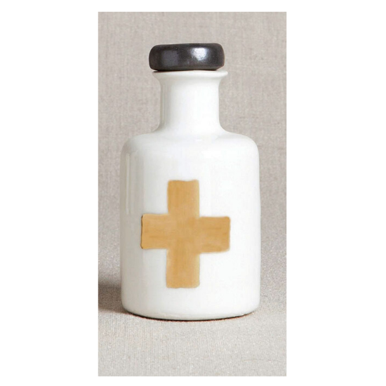 Porcelain apothecary bottle with silver lid and gold cross design.