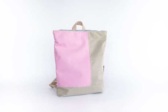 Pink and beige color-block designed minimalist backpack.