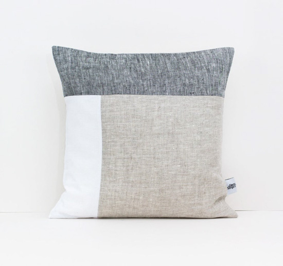 Color block linen pillow cover in gray, white and beige.