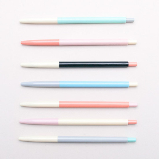Color block writing pens in pastel hues.