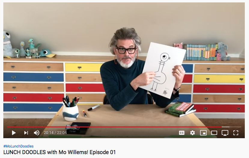 Youtube screen capture of Artis Mo Willems giving an art lesson.