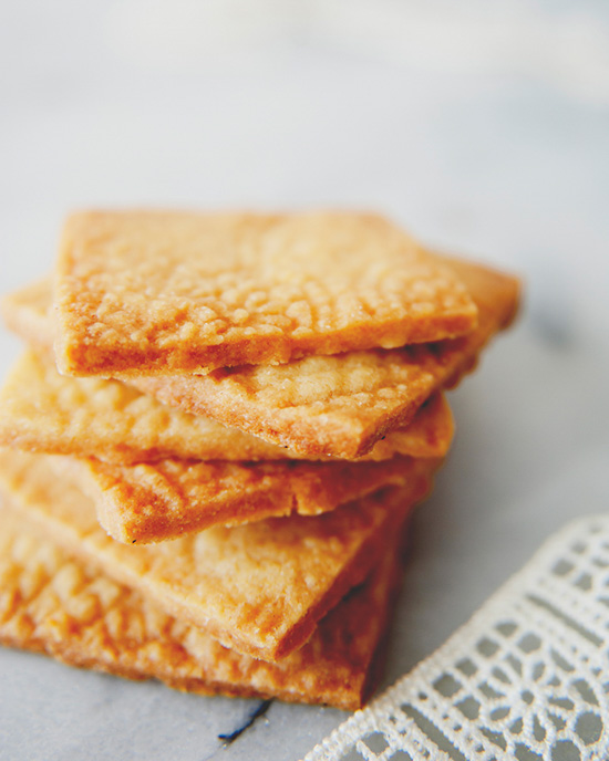 Stacked squares of Irish shortbread.