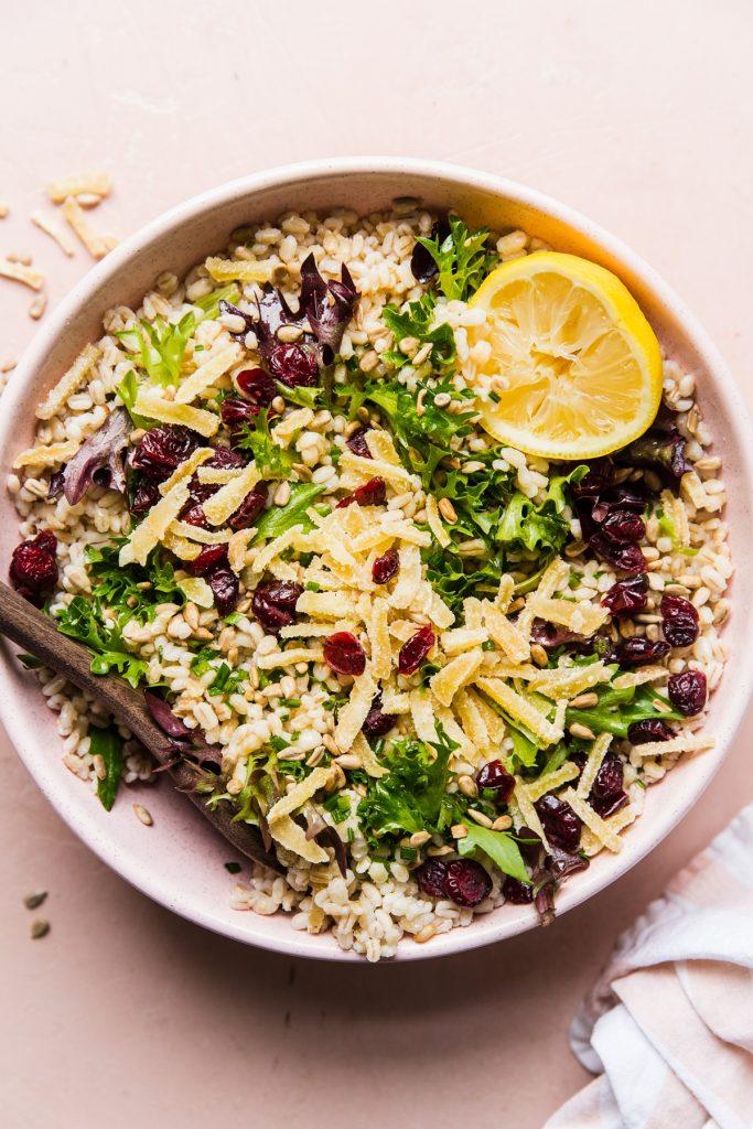 Spring Salad With Barley and Lemon Chive Vinaigrette