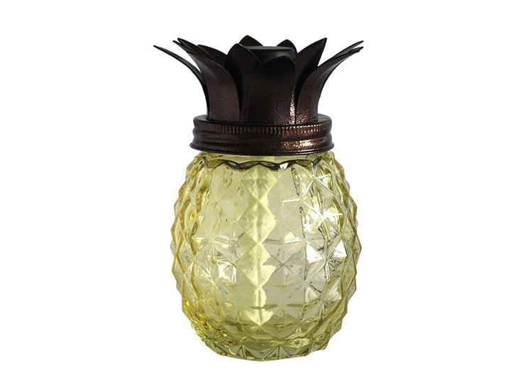 Glass pineapple torch with yellow glass