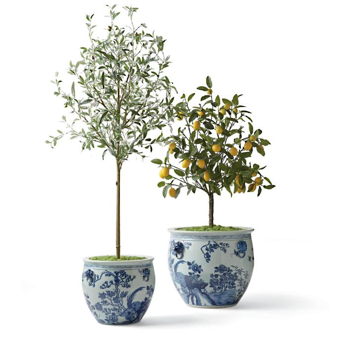 large blue and white ming dynasty style ceramic cottage style indoor planters