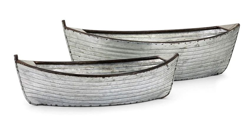 set of two galvanized boat shaped planters