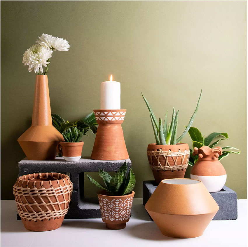 terrcotta planters with rattan weaving details