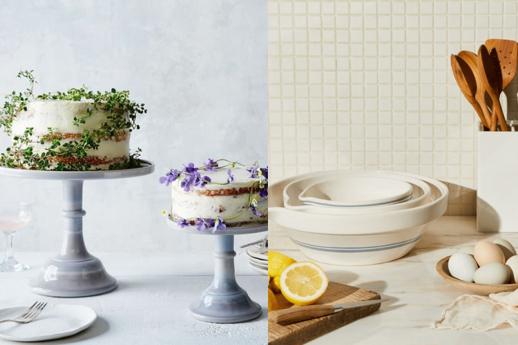 cake stands with cakes and stoneware nesting mixing bowls