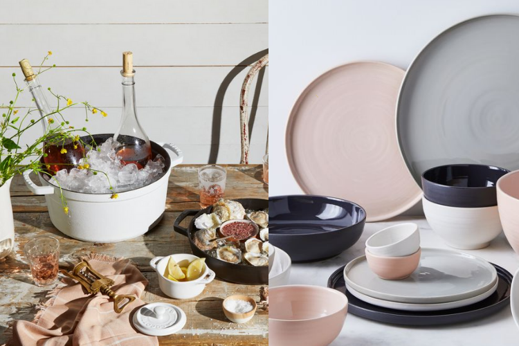 bakeware with ice and wine, and set of pink and blue and white dishware for timeless kitchen collection