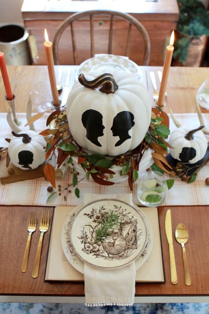 DIY Silhouette Painted Pumpkins Table Centerpiece