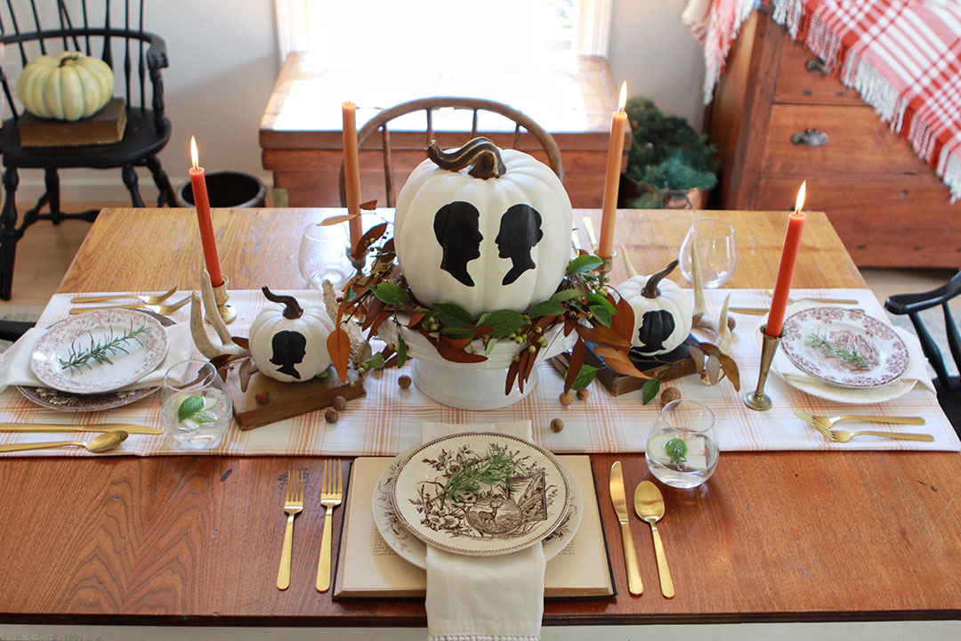 DIY Silhouette Painted Pumpkins Tablescape
