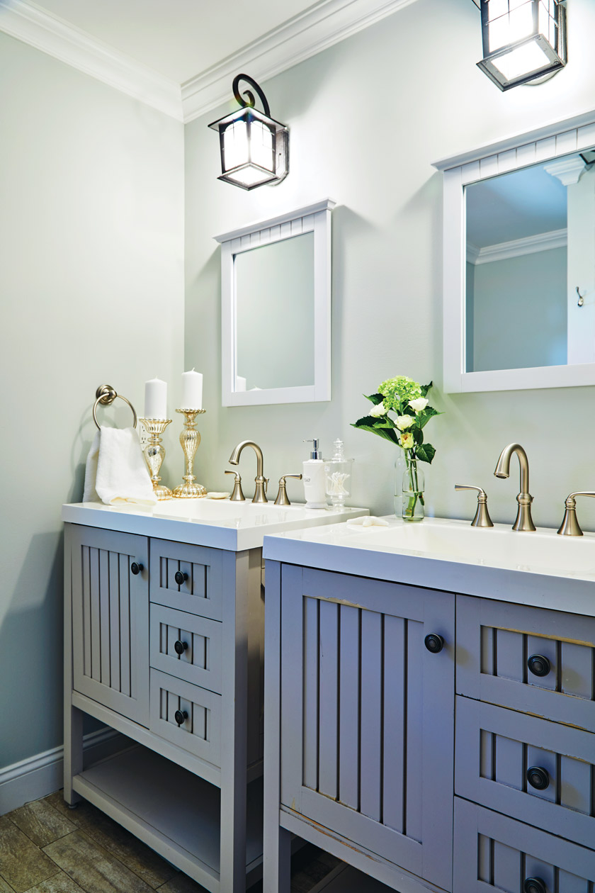Outdoor lanterns work really well in the bathroom