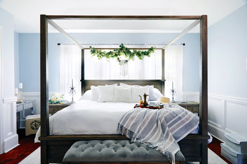 Faux florals in the bedroom, where you certainly don't want a bug crawling on you.
